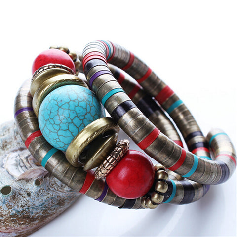 Boho Multi-Color Natural Stone Bracelet by Zoshi
