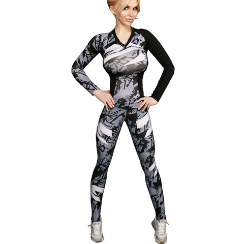 2018 Women Yoga Sets gray Camouflage girls