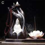 Water Lily Ceramic Buddha Incense Burner Holder Buddhist