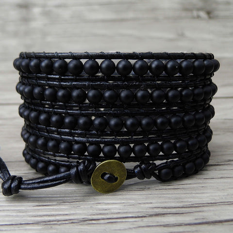 Bohemian Style Leather Beaded Bracelet