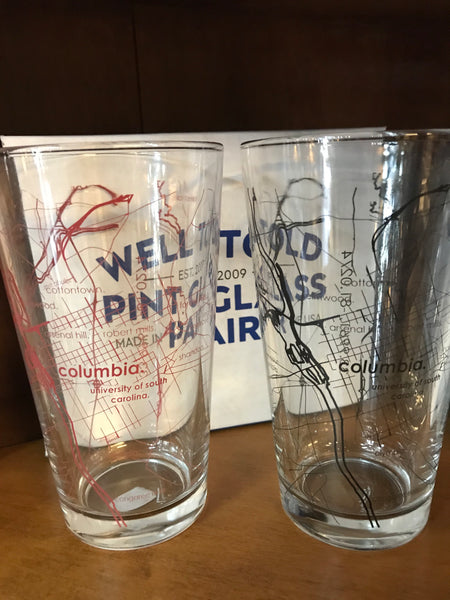 Painted Columbia Area Map Pint Glass