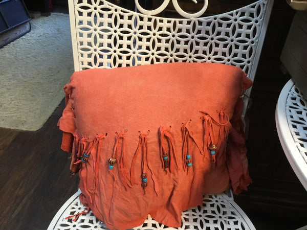 Hand made beautiful lamb suede pillow with beads
