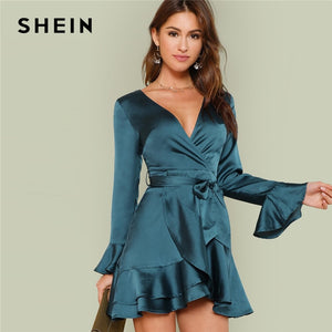 9fd1a05a00 SHEIN Blue Party Elegant Sexy Split Back Ruffle Trim Overlap Front Belted  Deep V Neck High