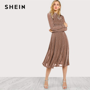 f29b6722f6b SHEIN Brown Party Elegant Fit And Flare Long Sleeve Dress
