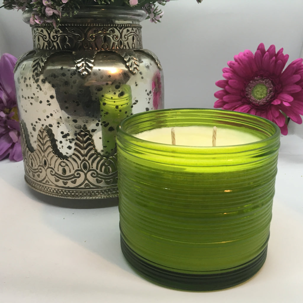 GREEN RIBBED VASE - Jamcat Candles