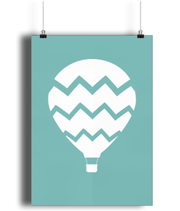 A3 Nursery Poster - Unframed - Hot Air Balloon - Nested Fox