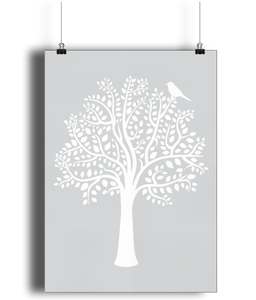 A3 Nursery Poster - Unframed - Woodland Friends Tree (White on Grey)