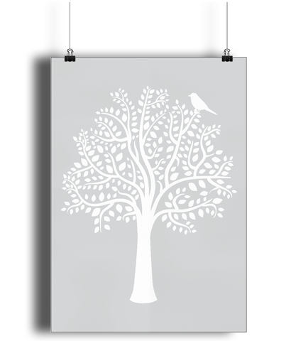 A3 Nursery Poster - Unframed - Woodland Friends Tree (White on Grey) - Nested Fox