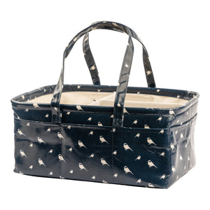 Waterproof & Wipeable Nappy Caddy - Navy Chickadees Print - Nested Fox