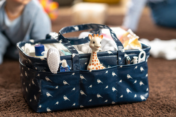 Waterproof & Wipeable Nappy Caddy - Chickadees Print - Nested Fox