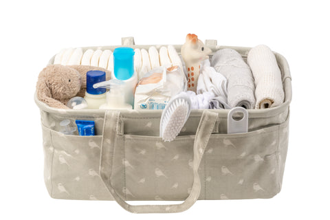 Waterproof & Wipeable Nappy Caddy - Grey Chickadees Print - Nested Fox