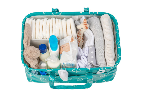 Waterproof & Wipeable Nappy Caddy - Teal Trees Print - Nested Fox