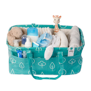 Waterproof & Wipeable Nappy Caddy - Teal Trees Print