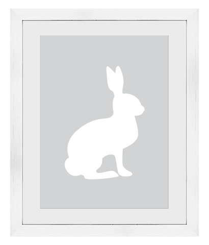A3 Woodland Friends White Bunny Print - Framed