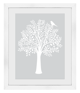 A3 Woodland Friends Tree Print (Grey) - Framed - Nested Fox