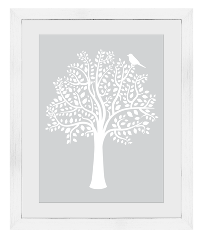A3 Woodland Friends Tree Print (Grey) - Framed