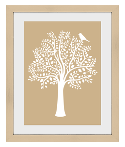 A3 Woodland Friends Tree Print (Hazelnut) - Framed - Nested Fox