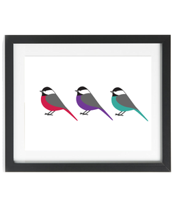 A3 Rainbow Chickadees Print - Framed