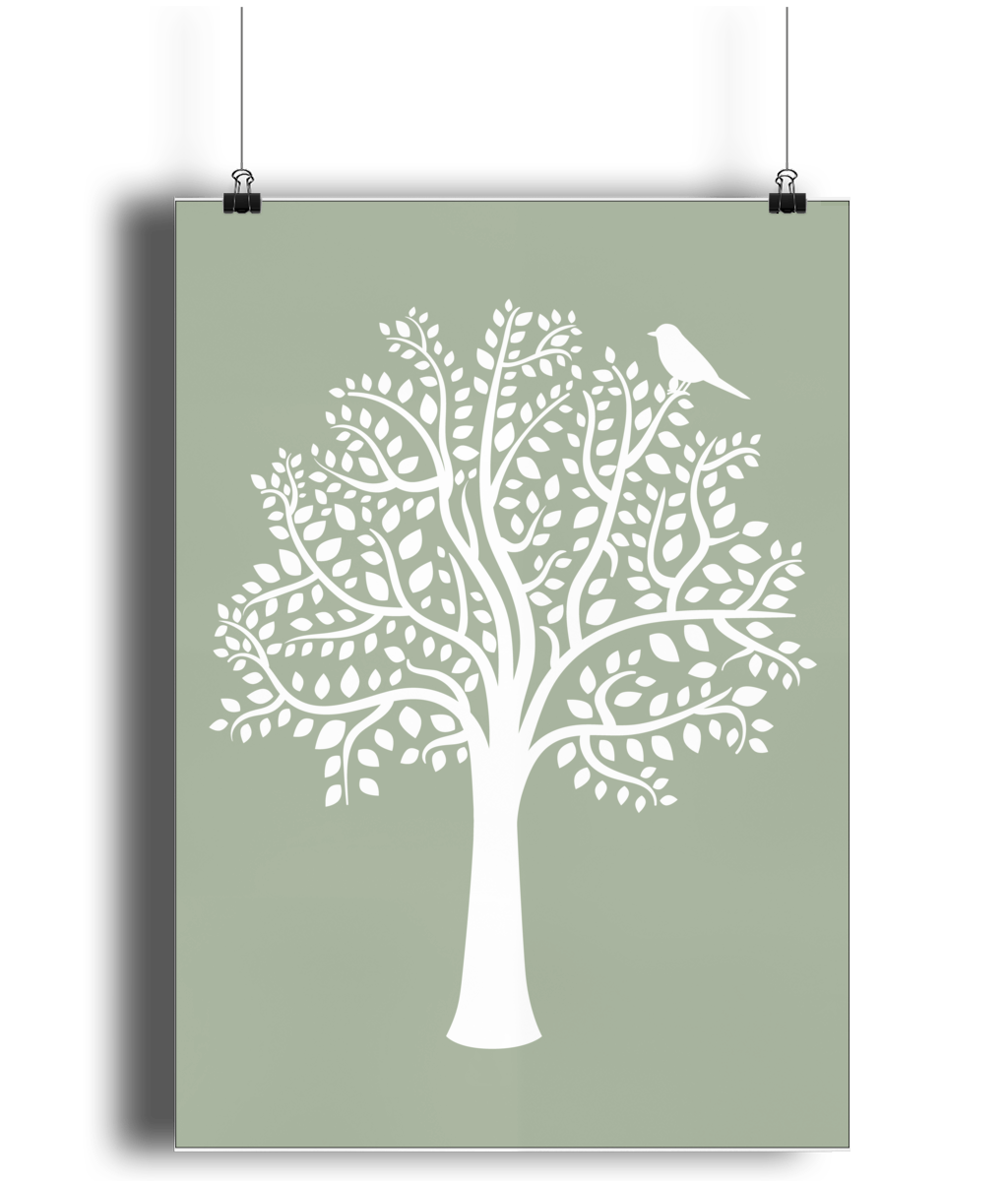 A3 Nursery Poster - Unframed - Woodland Friends Tree (White on Sage) - Nested Fox