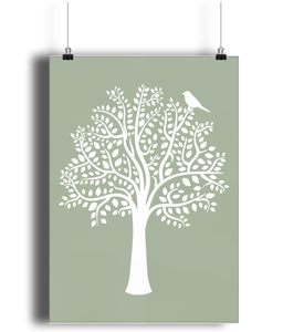 A3 Nursery Poster - Unframed - Woodland Friends Tree (White on Sage)