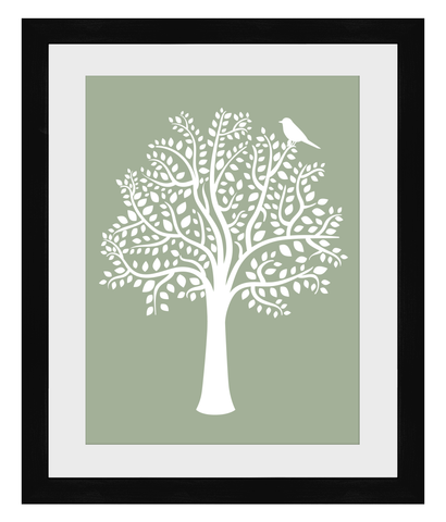 A3 Woodland Friends Tree Print (Sage) - Framed - Nested Fox