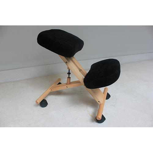 Kneeling Chair with Memory Foam Natural Wooden Frame Black Fabric