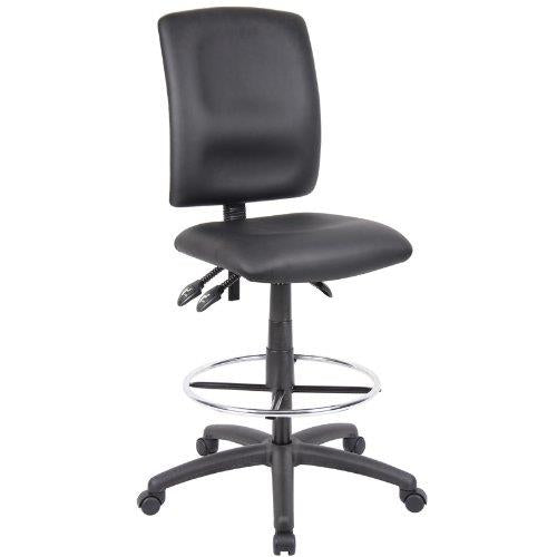 Ergonomic Drafting Stool - Black Leatherette Draft Chair with Loop Arms