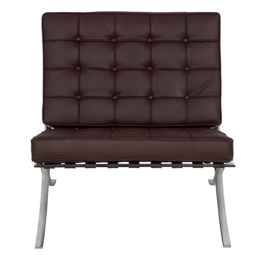 Barcelona Couch Sofa - with Stainless Steel Frame - in Color Dark Brown