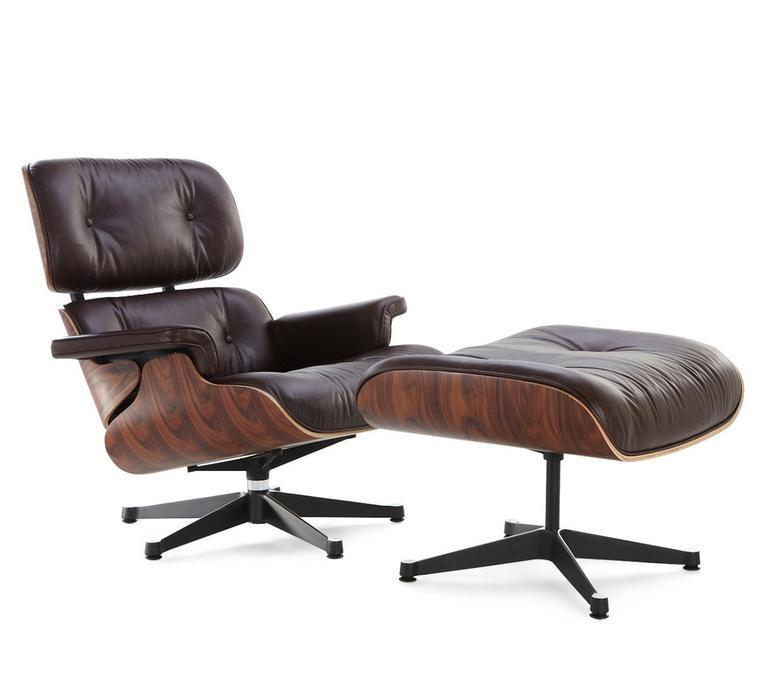 Modern Lounge Chair and Ottoman - Dark Brown Italian Leather