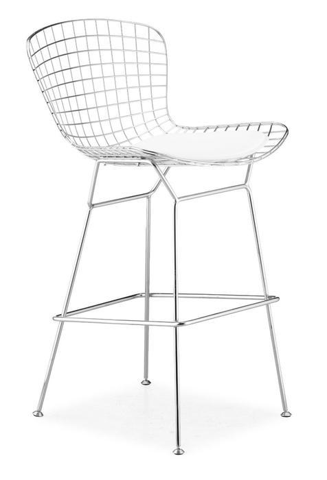 Set of 2-Harry Bertoia Chromed Steel Wire Frame Bar Height Bar stool with Black Leatherette PU Pad