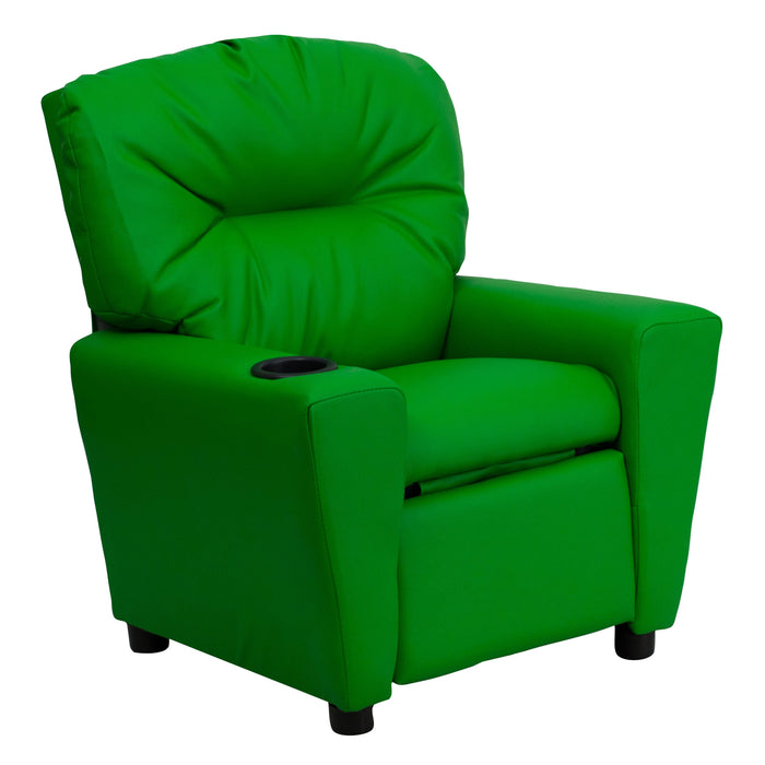 Nicer Furniture - Flash Furniture Contemporary Green Kids Recliner with Cup Holder