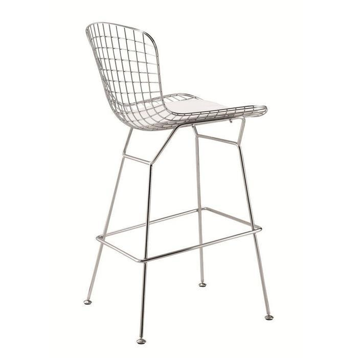 Set of 2-Harry Bertoia Chromed Steel Wire Frame Bar Height Bar stool with White Leatherette PU Pad