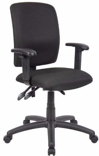 Adjustable T Arms Office Chair Black Fabric Multi-Function with Adjustable T Arms