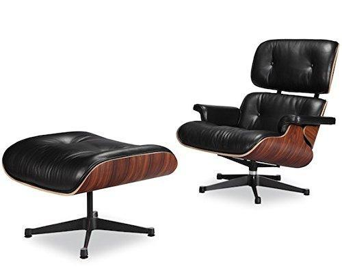 Modern Lounge Chair and Ottoman Black Italian Genuine Full Grain Leather