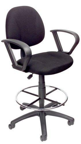 Black Fabric Drafting Chair With Drafting Stool and Foot Ring - Adjustable T-Arms