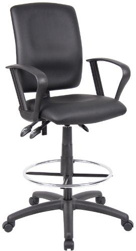 Ergonomic Drafting Stool-Black Leatherette Draft Chair