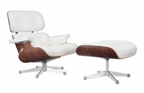 Lounge Chair and Ottoman White Italian Leather with Rosewood/Palisander Finish