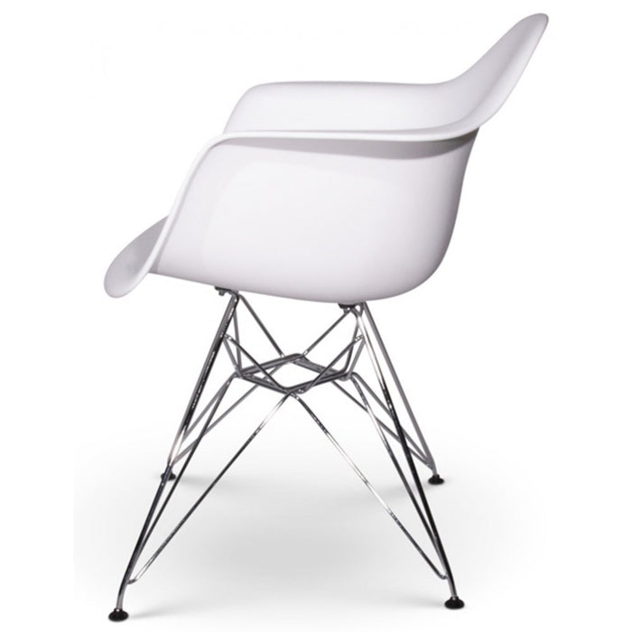 White - Chromed Steel Legs Eiffel Dining Room Chair (Set of 2)