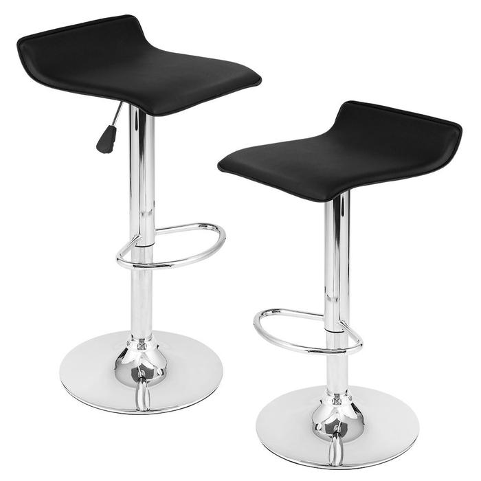 Faux Leather Air Lift Adjustable Metal Bar Stool in Black (Set of 2)