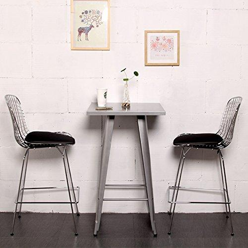 Set of 1-Harry Bertoia Chromed Steel Wire Frame Counter Height Stool with Leatherette PU Pad