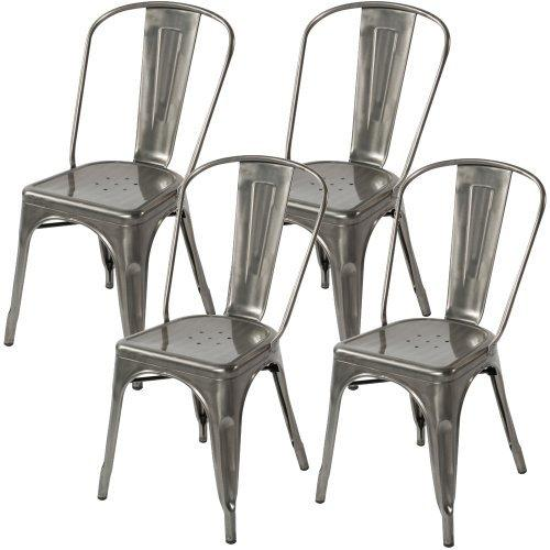 Stackable Industrial Industrial Dining Chairs   Galvanized (Set Of 4)