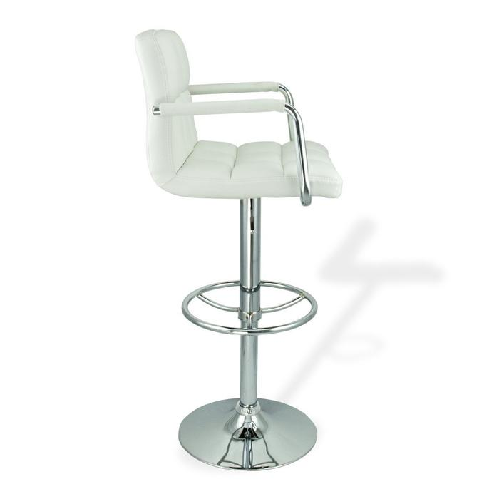 Hexagrid PU Height Adjustable Bar Stool with Arms in White (Set of 2)