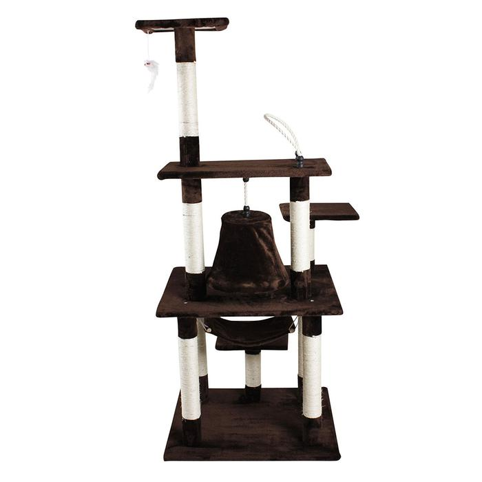 "iPet 65"" Cat Tree Condo Teepee Exercise Tree in Brown"