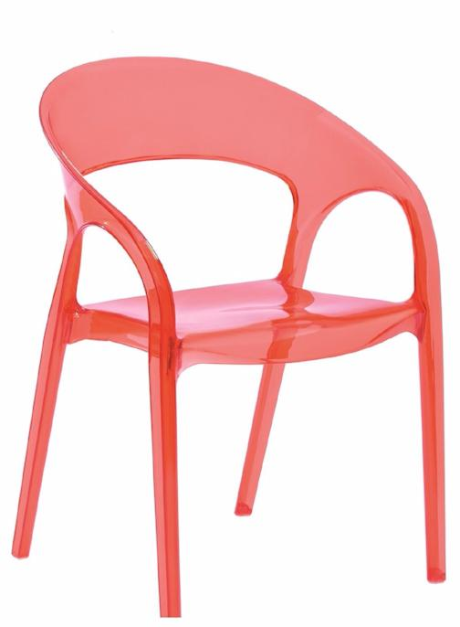 Dining Chair Polycarbonate Plastic in Clear Red Transparent (Set of 4)