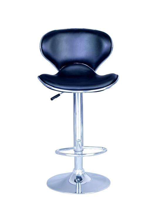Swivel Adjustable PU Bar Stool in Black (Set of 2)