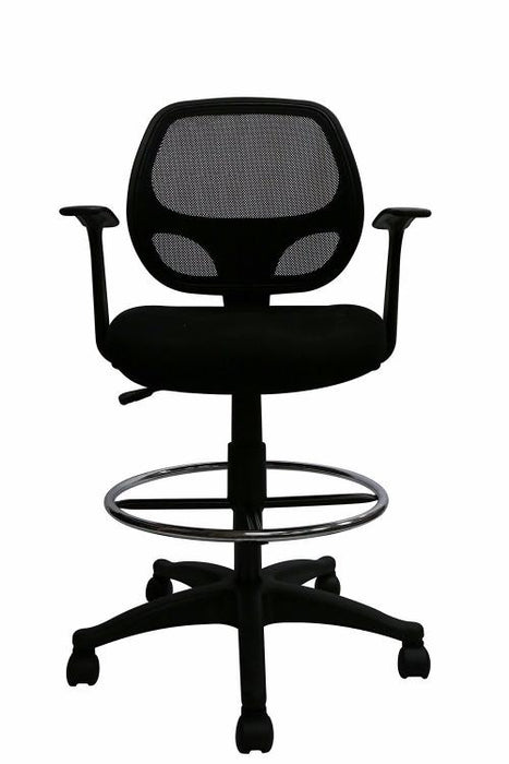Black Mesh Computer Desk Chair with Footring and Arms - Mid-Back Ergonomic