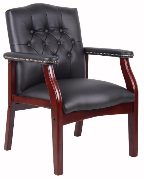 Caressoft Black Vinyl Guest Chair - Traditional Conference heavy duty chair