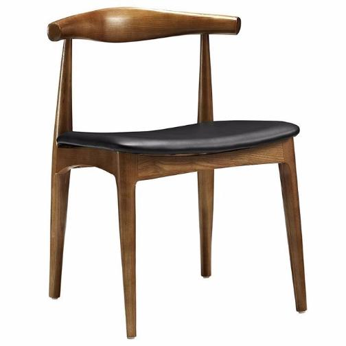 Dining Chair, Black Faux Leather/Ash Wood Frame in Natural Stain (Set of 2)