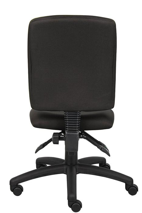 Office Chair Multi-Function Middle Back Ergonomic Black Fabric without Arms