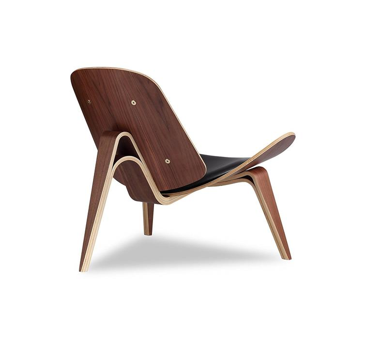 OCC Shell Chair in Walnut Finish with Italian Genuine Black Leather